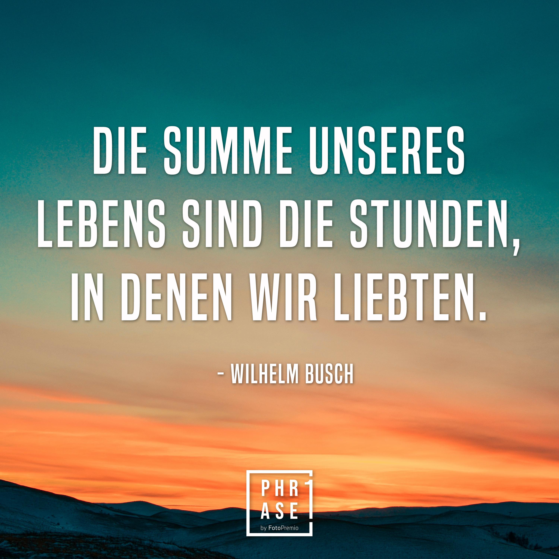 Die Summe unseres Lebens sind die Stunden, in denen wir liebten. - Wilhelm Busch