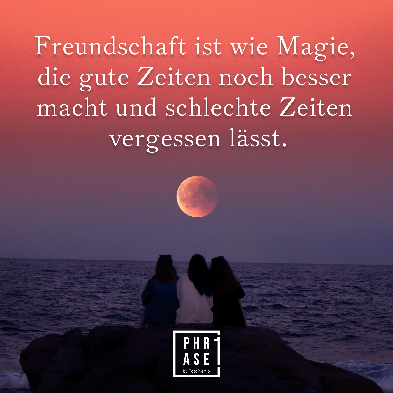 Freundschaft ist wie Magie, die gute Zeiten noch besser macht und schlechte Zeiten vergessen lässt.